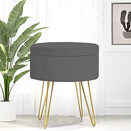 Venustein Samt Sitzhocker, runde Hocker mit Stauraum, gepolsterter Aufbewahrungsbox, Metallbeine (Dunkelgrau)