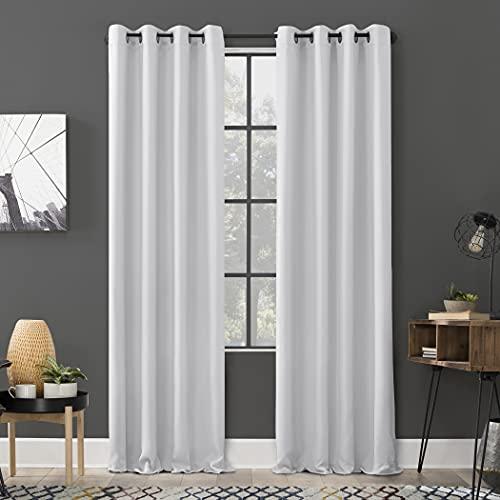 "Sun Zero Soho 2-Pack Energy Efficient Blackout Grommet Curtain Panel Pair, 54"" x 84"",Dove White"