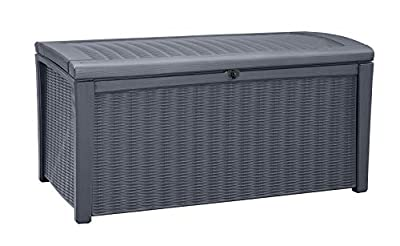 Keter Borneo 110 Gallon Resin Deck Box-Organization and Storage for Patio Furniture Outdoor Cushions, Throw Pillows, Garden Tools and Pool Toys, Grey