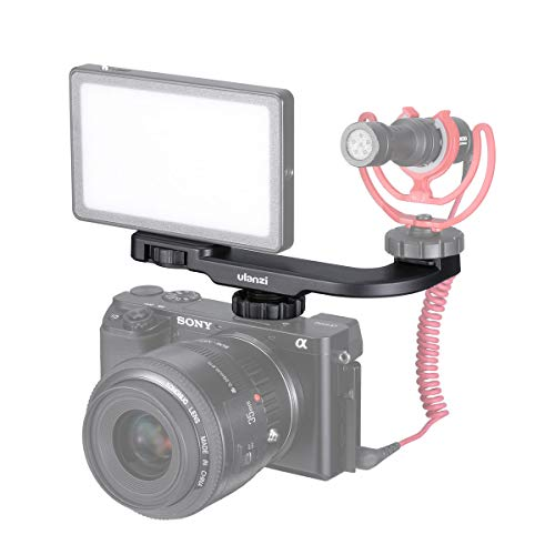 ULANZI PT-8 On Camera Vlog Cold Shoe Bracket Microphone Extension Bar Plate for Mic LED Video Light w Cold Shoe for Sony Nikon Canon DSLR Cameras iPhone Samsung Smartphone Vlogging Setup Accessories