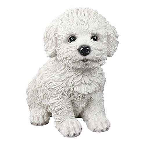 Garden Ornament Small Garden Ornaments, Indoor Table Decorations, Resin Bichon Frise Figurines, Creative Birthday Gifts (Color : White, Size : 11x15x16cm)