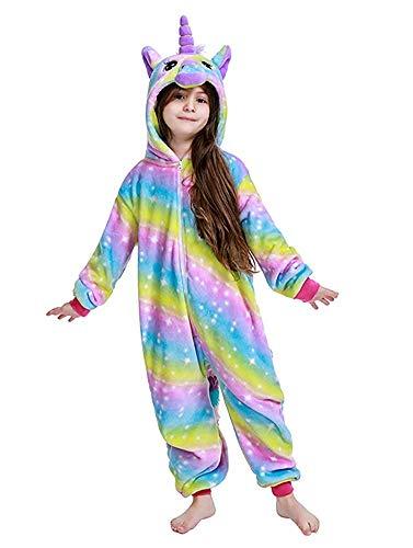 DRESHOW Weiche Mädchen Einhorn Bademantel Nachtwäsche Komfortable Onesie Tier Schlafanzug Pyjamas Kostüm für Kinder,Pajamas Bright Rainbow,140