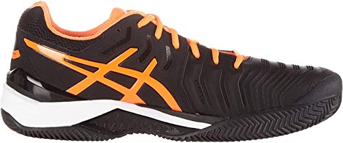 ASICS Herren Gel-Resolution 7 Clay Tennisschuhe, Schwarz Black Shocking Orange White, 42.5 EU