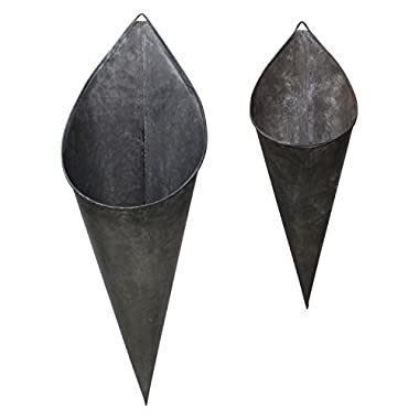 Hanging Metal Cone Wall Vases - Rustic Farmhouse Style, Nesting Set of 2