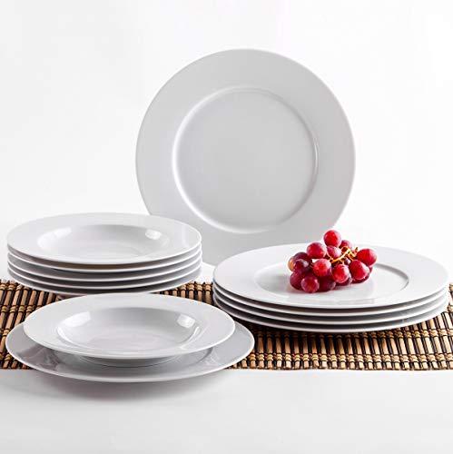 Kahla 45A133O90045B Aronda Tafelservice 12-teilig Porzellan ohne Muster Tellerset für 6 Personen weiß rund Suppenteller 23 cm großer Speiseteller 27 cm