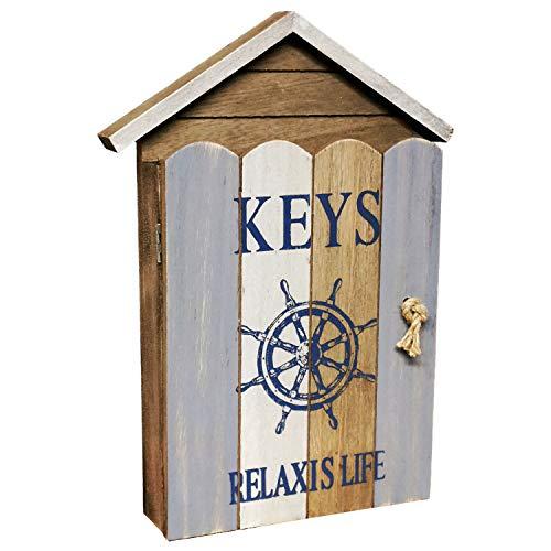 Land-Haus-Shop Schlüsselkasten Holz Maritim Aufhängbar Schlüsselbrett Schlüsselschrank 6 Haken
