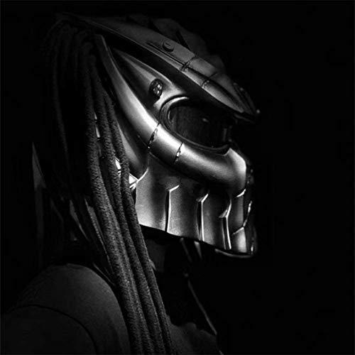 Motorradhelm, Motocross-Integralhelm, Creative Iron Warrior Predator-Helm mit Anti-Fog-Linse Personality Hair Braid und LED-Licht, D.O.T.-Sicherheitszertifizierung, (schwarz) L / XL (59-62 cm),L