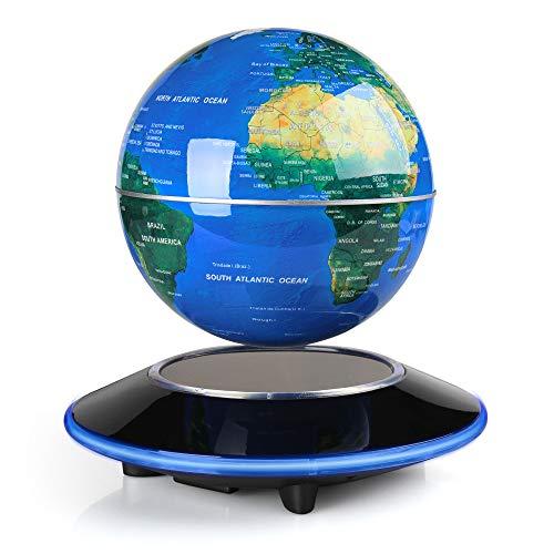 EASY EAGLE 6 Pouces Globe Teresstre Magnétique Lévitation Rotatif Lumineux Cadeau de Fête Décoration Maison Bureau Chambre, Bleu