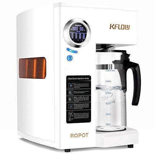 KFLOW Trinkwasser Umkehrosmoseanlage mit Doppeltem RO-Filter, Null-Installations-Osmoseanlage Wasserfilter, Filterlebensdauer und TDS-Monitor, 4-Stufen Mobil Umkehrosmos Trinkwasserfilter (KFL-DT-180)