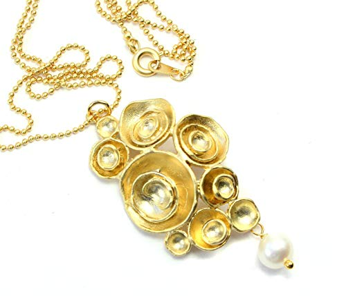 Kette mit Rosenbouquet-Anhänger echte Perle Perlenkette vergoldet