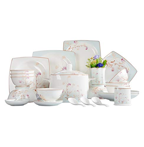 ASYCAN 50pcs de vajilla de Porcelana de China de Hueso Premium W/Gold Llantas, Placas de Cena, Placas Sopa, Ensalada...
