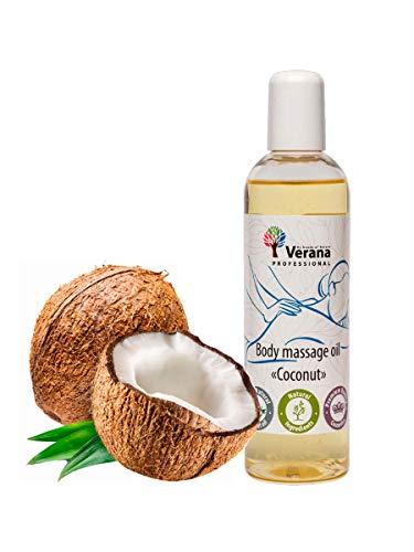 Huile de massage Verana, Coco, Huile cosmétique naturelle pour le corps, Pour tous types de peau, Massage rajeunissant et revitalisant (250 ml)