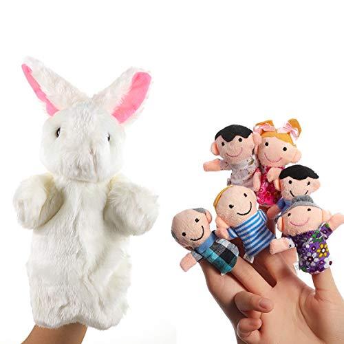 Osuter 6PCS Marionetas de Dedos Set Pequeño Niños Bebé Marioneta de Dedo y Conejo Marionetas de Mano para Fiesta Cumpleaños Regalo