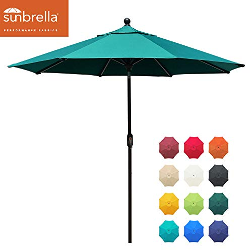 EliteShade Sunbrella 9Ft Market Umbrella Patio Outdoor Table Umbrella with Ventilation and 5 Years Non-Fading Top,Teal