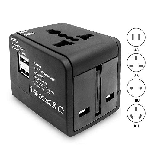 Travel Power Adapter, Protmex Worldwide All in One Universal Power Converters AC Power Plug Adapter Charger with Dual USB Charging Ports for USA EU UK AUS Cell Phone Laptop