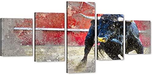 Willion Moderne 5-Panel-Bull-Leinwand-Wand-Kunst Schwarz laufender Stier-Leinwand gedruckte Tierbilder Kunst gestreckt und gerahmt, Wohnkultur 50x100cm Stierkampf