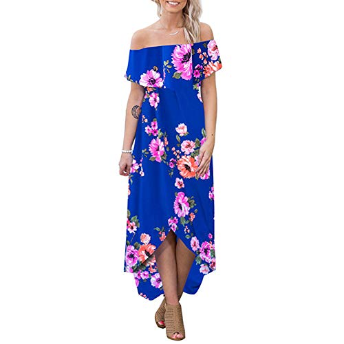 High Low Dress for Women - Summer Sexy Floral Off Shoulder Swing Beach Maxi Dress Blue