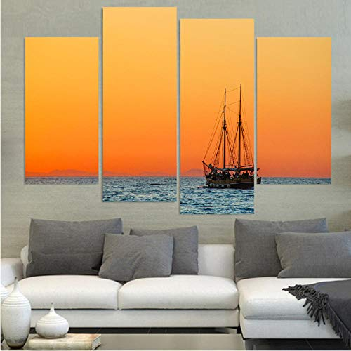 Aisufen Decoración para el hogar Impreso Imágenes Lienzo Pintura Cartel de 4 Piezas/Panel Vela Barco Panel Solar Paisaje Marco Pared Arte Sala de estar-30X60/80cmX2