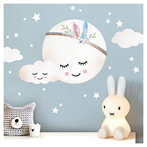 Little Deco Wandtattoo Kinderzimmer Mädchen Mond Wolken Sterne I L - 39 x 29 cm (BxH) I Federn Wandsticker Babyzimmer selbstklebend Wandaufkleber Baby Kinder DL263