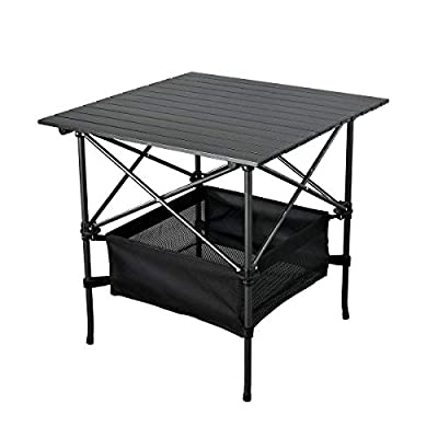 WUROMISE Sanny Lightweight Square Folding Portable Picnic Camping Table, Aluminum Roll-up Table with Easy Carrying Bag for Indoor,Outdoor,Camping, Beach,Backyard, BBQ, Party, Patio, Picnic