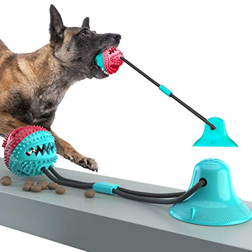 interactive dog toys QPQEQTQ Squeak Dog Chew Suction Cup Tug of War Toy Ball for Aggressive Chewers, Interactive Puppy Training Treats Teething Chew Rope Puzzle Toothbrush Molar Bite Toys with Food Dispensing Features