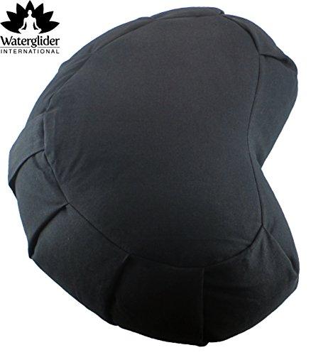 Waterglider International Zafu Crescent: Meditation Pillow with USA Buckwheat Hull Fill, Certified...