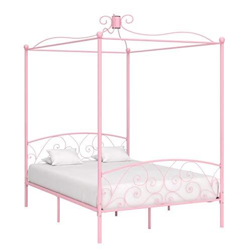 vidaXL Himmelbett Bettgestell Bett Doppelbett Metallbett Bettrahmen Lattenrost Schlafzimmerbett Schlafzimmermöbel Ehebett Rosa Metall 120x200cm