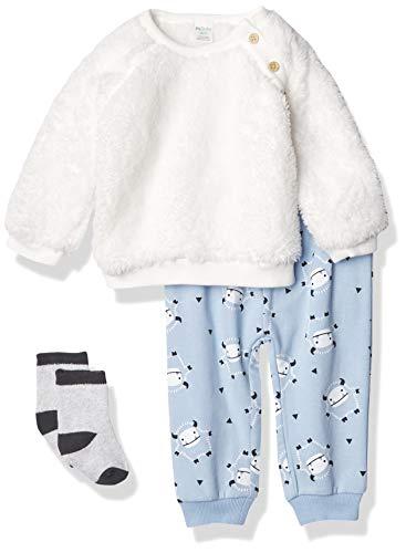Petit Lem Girls' Baby 3Pc Set: L/S Top, Pant and Sock Knit, 100 White, 9M