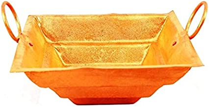 Achleshwar Pure Copper Hawan Kund for Poojan Purpose, Indian Cultural Religious Item Best for Home, Office.Copper,Brown,(...