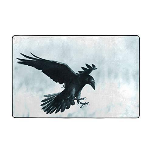 Dfform Badematten,Mittelalterlicher schwarzer Rabenvogel der Halloween-Gotik im Mondlicht,weich waschbar rutschfeste Badteppich 75X45cm