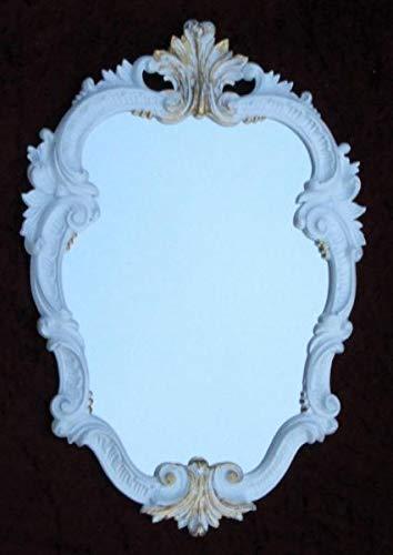 Espejo de pared barroco blanco y dorado ovalado,...