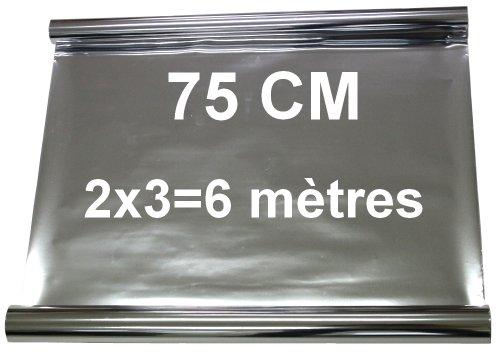 Janey Aerzetix zonwerende folie voor autoraam, 2 x 3 = 6 meter, 75 cm, getint, spiegelend