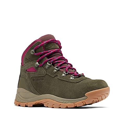 Columbia Women's Newton Ridge Plus Waterproof Amped Hiking Shoe, Peatmoss/Red Onion, 6.5