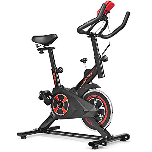 GYMAX Indoor Cycling Bike, 330lbs Weight Capacity Stationary Exercise Bike with Heart Rate Sensor & LCD Monitor for Home/Gym Cardio Workout Fitness (Red)