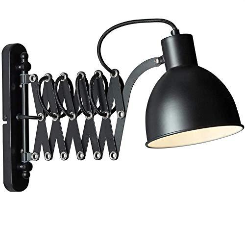 Schlafzimmer Industrie Wandleuchte mit Schalter, Metall Ausziehbare Scherenarm Innen Ausrichtbare Vintage Schwarze Wandlampe Kipp-am Kabel (1,5m lang) mit Stecker E27-Fassung, Max. 60W