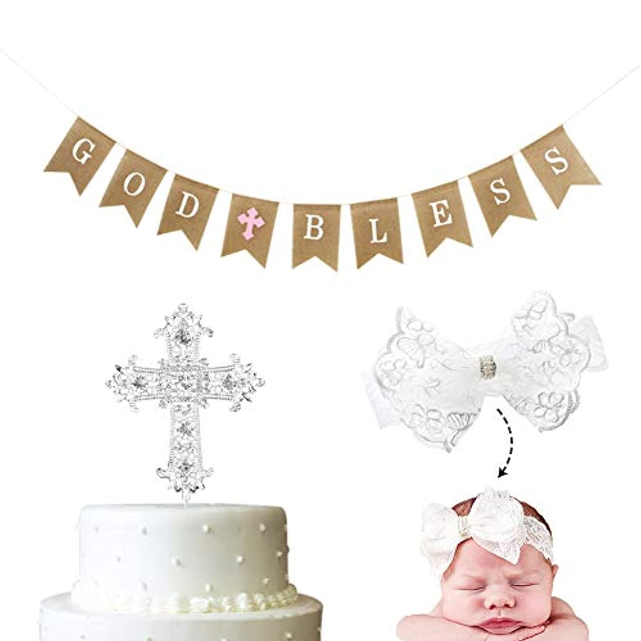 3 PCS Baptism Gifts for Girls Decoration God Bless First Communion Burlap Banner Party Supplier Pink Cross and Christening Headband and Celebration Cake Topper