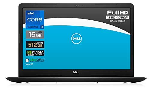 Notebook Dell, Cpu Intel i7 di 10 th Gen.fino a 3,9 GHz, Display da 17,3' FullHd, SSD nvme da 512 Gb, Ram 16Gb, Win10 Pro, Webcam , wi-fi, bt, Svga Geforce MX230 2gb ddr5, Pronto All'uso, Gar. Italia