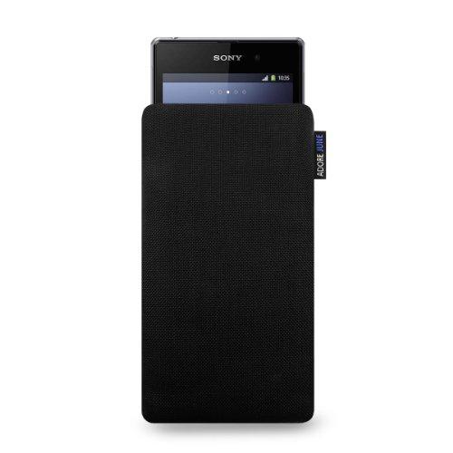 Adore June Classic Schwarz Tasche passend für Sony Xperia Z3 Compact & Z1 Compact Handytasche aus beständigem Cordura Stoff | Robustes Zubehör mit Bildschirm Reinigungs-Effekt | Made in Europe