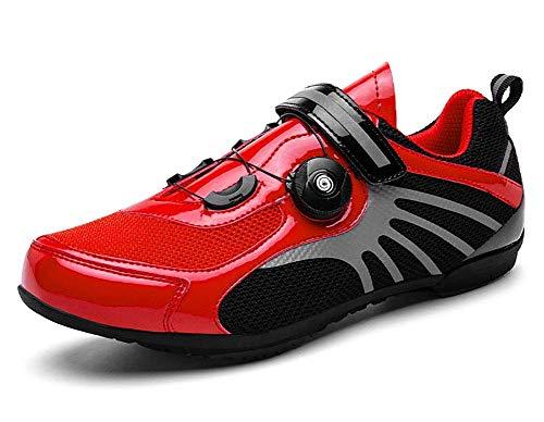 ququer SPD SPD-SL - Zapatillas de ciclismo para bicicleta de carretera con cintas reflectantes, antideslizantes, transpirables, adultos, bicicletas de montaña, deporte