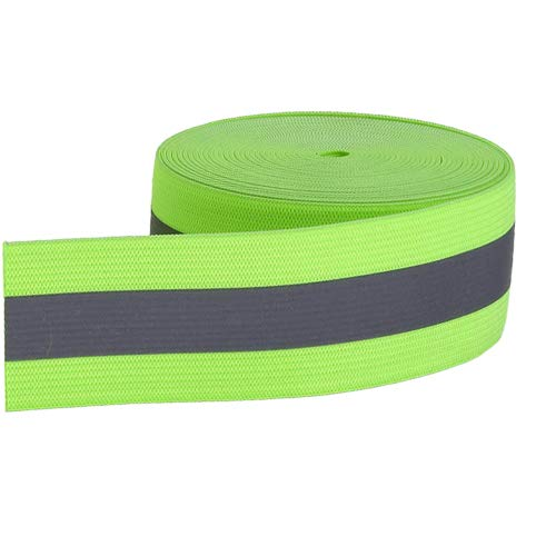 YSSAFE 1.6'X118' Safety Fluorescent Green Reflective Elastic Tape,Lime Warning Safety Trim Spandex Strip Sew On Reflective Tape for Clothing,Hat, Bag,Luggage,Pet Clothes Belt