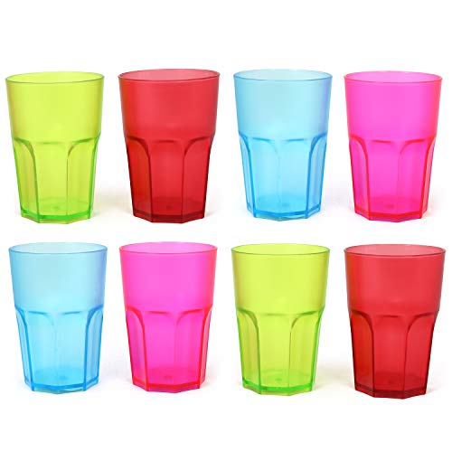 COM-FOUR® 8x stabiele herbruikbare drinkbekers in verschillende kleuren, kleurrijke herbruikbare bekers, stapelbaar, 400 ml