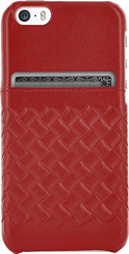 Bigben Connected–Carcasa de Piel para iPhone 5/5S/Se con Tarjetero Rojo