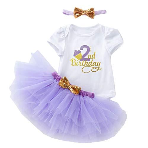 Gaga City Baby meisjeskledingset, het is mijn 1e / 2e verjaardag korte mouwen katoen rocker + hoofdband prinses outfits 3-delig fotoshooting kostuum