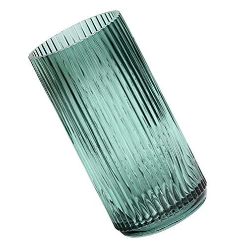 WINOMO - Vaso per fiori in vetro, con venature verticali, da tavolo, per fiori secchi, supporto decorativo (verde scuro)