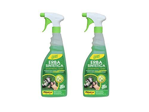 Chimiver Detergente per la Pulizia di Prati in Erba Sintetica Pronto all'Uso. Clean Garden Pronto Kit 2 Pezzi | 2 flaconi con nebulizzatore da 750ml cad.
