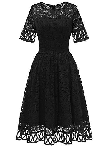 MuaDress 6068 Cocktailkleid Damen Abendkleid Kurz Kleid Festlich Spitzenkleid Knielang für Hochzeit Schwarz 3XL