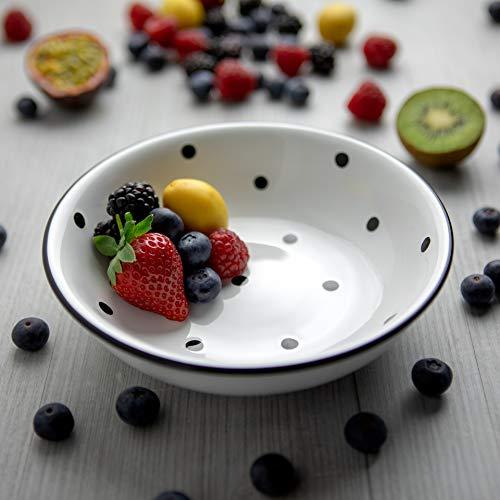 City to Cottage | Assiette creuse Bol à soupe, à céréales, à salade, à pâtes | blanche à pois noirs en céramique fait et peint à la main | 18,5cm / 400ml