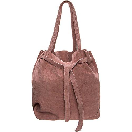 Hey May Leder Damen Handtasche Schultertasche Innenbeutel mit Reißverschluss Hochwertige Qualität Rosa Damen Tasche