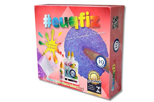 Slime, Kit 2 Clear Crunchy Slime, Euqfiz, I9 Brinquedos