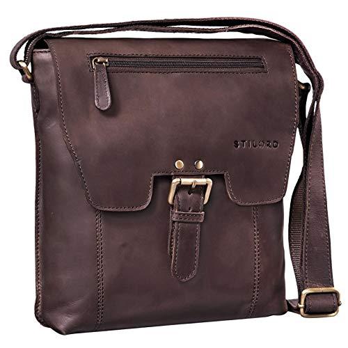 STILORD 'Rico' Borsa tracolla uomo piccola in pelle Borsello per Tablet 10.1 pollici Messenger vintage in cuoio, Colore:marrone scuro - pallido
